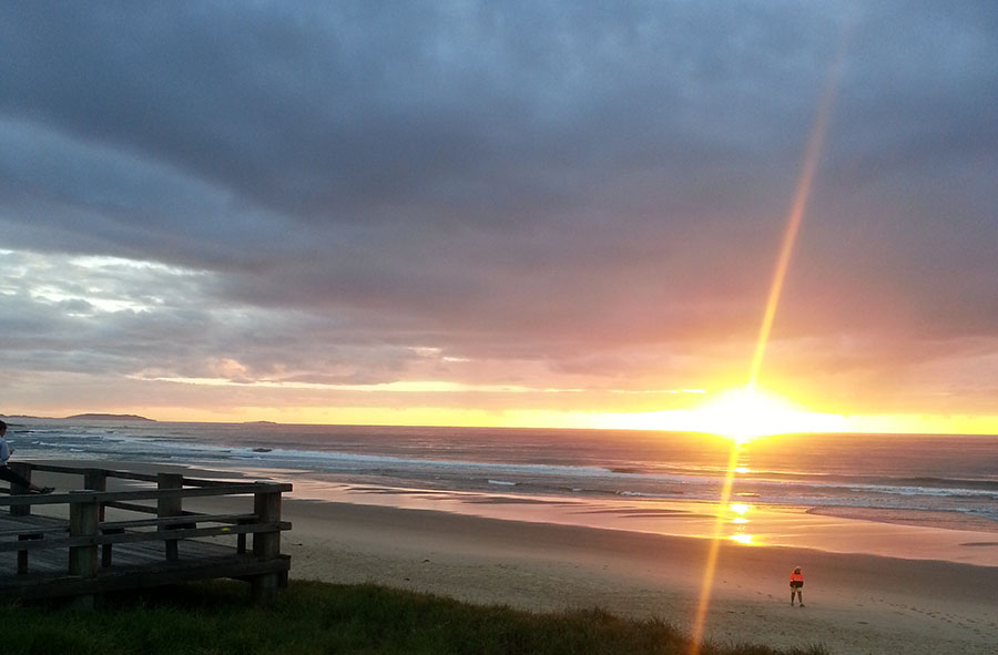 The morning sunrise at Sawtell Beach on NSW Mid North Coast, near Coffs Harbour