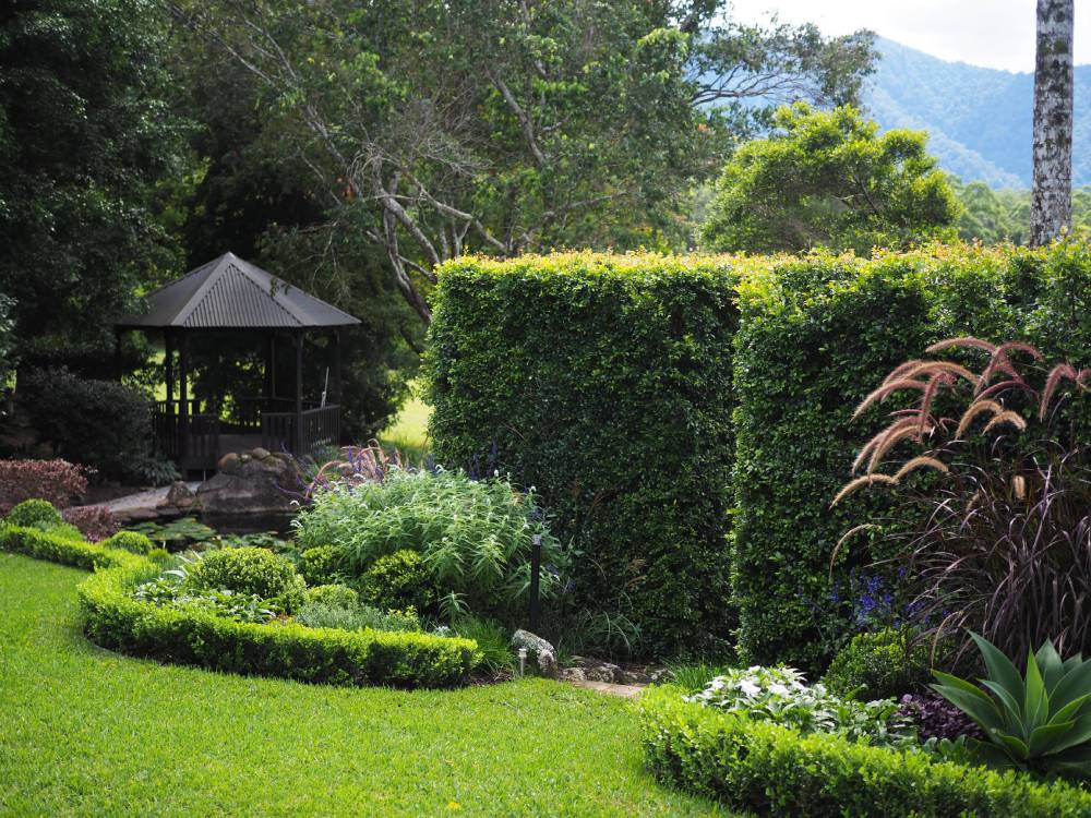 Lush formal gardens at Hermes Estate
