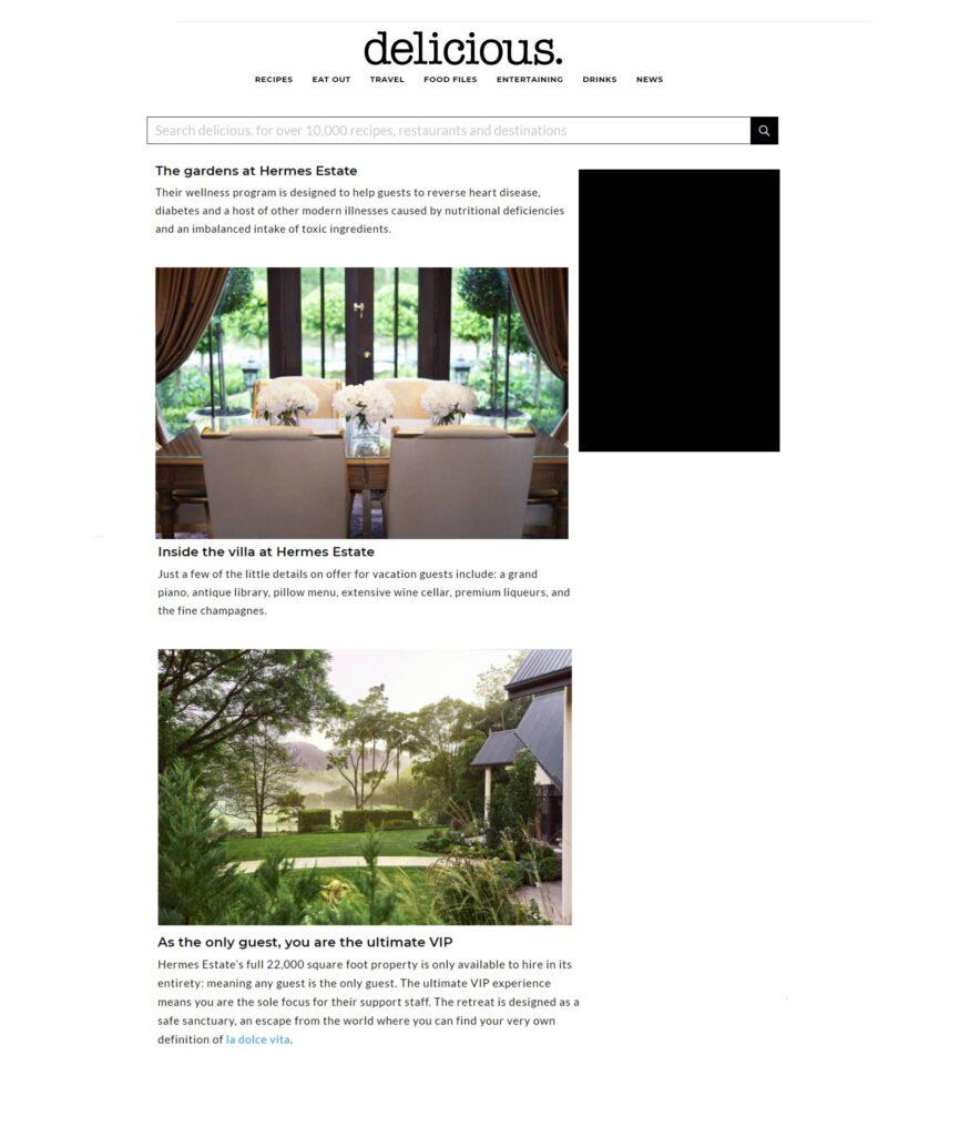 Delicious Magazine feature - Hermes Estate