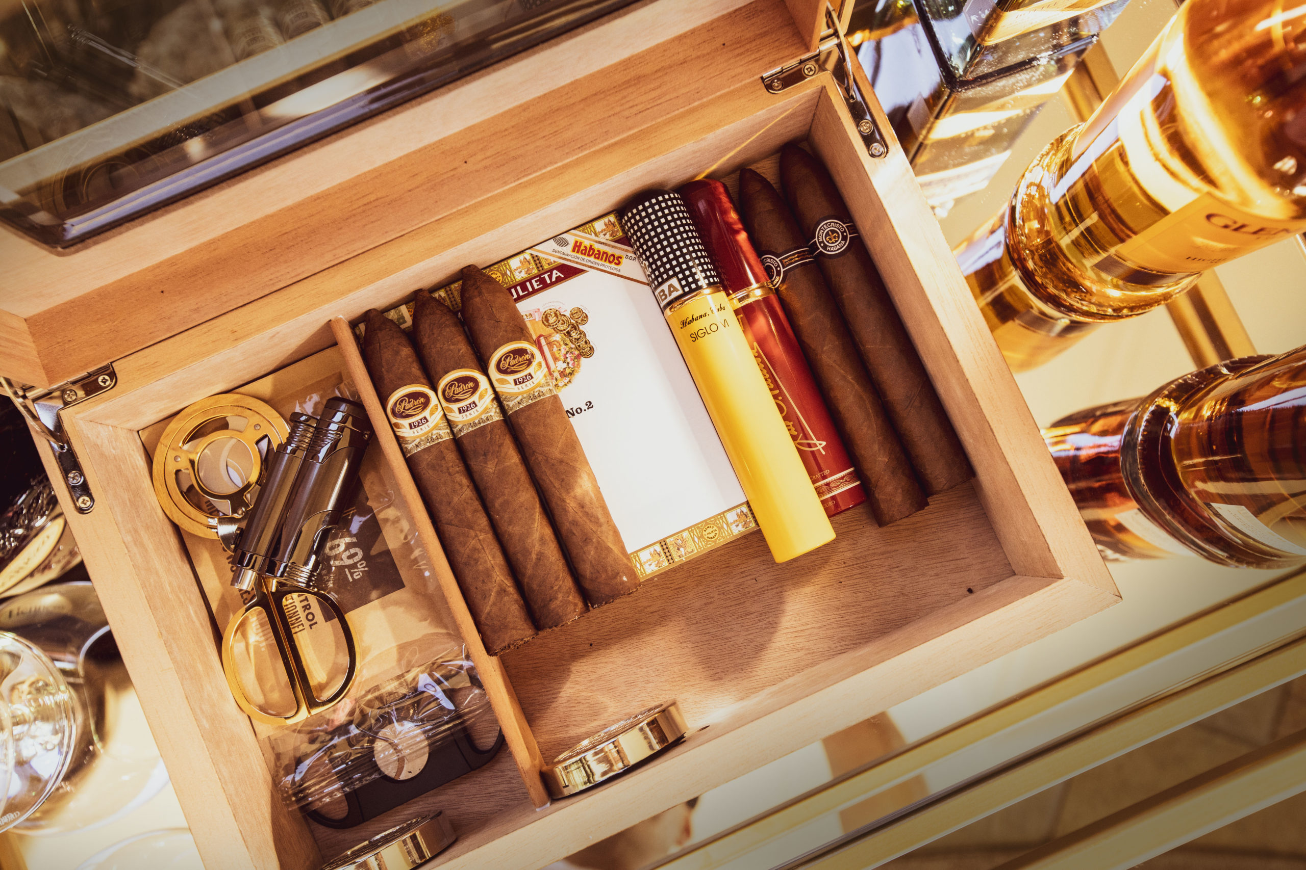 Fine cigars in the smoking room of the Hermes Estate villa