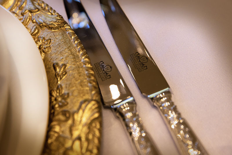 Branded solid sterling silver flatware at Hermes Estate