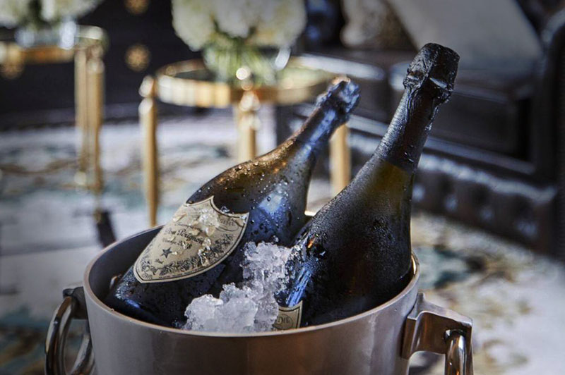 Hermes Estate private hotel champagne breakfast, complimentary Dom Perignon