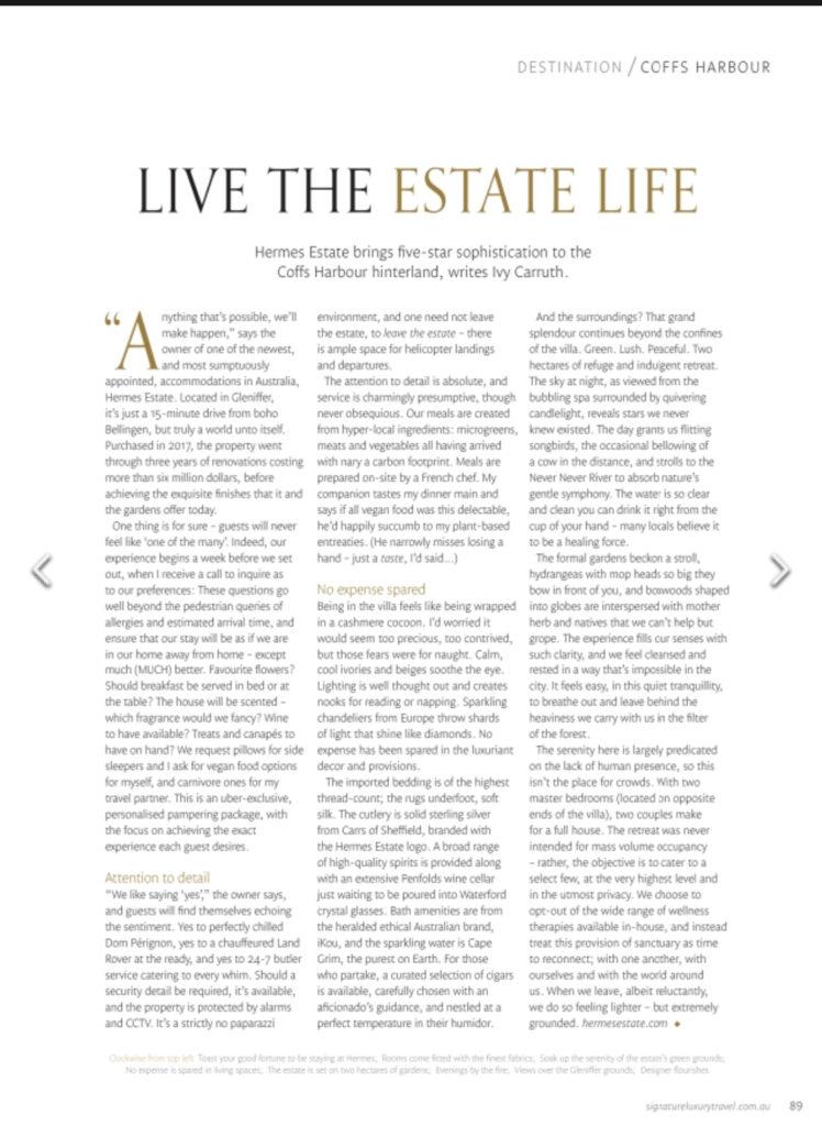 Signature luxury travel feature article, Hermes Estate